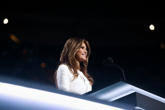 Melania Trump at the Republican National Convention in July. In a truly unprecedented move, several designers said publicly that they would not dress Mrs. Trump. Credit Eric Thayer for The New York Times