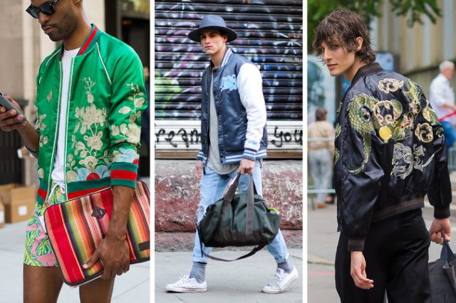 The bomber was a ubiquitous men's wear default in 2016. Credit From left: Marcy Swingle for The New York Times (2); Acielle Tanbetova for The New York Times