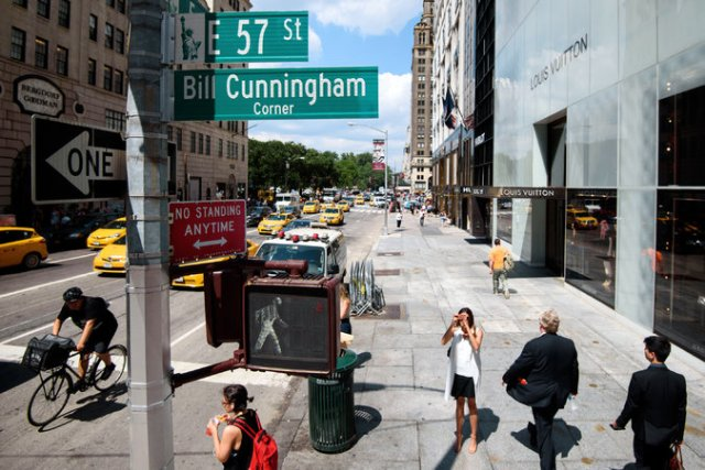 Following the death of the photographer Bill Cunningham, New York City announced it would rename one of his favorite perches after him. Credit Karsten Moran for The New York Times