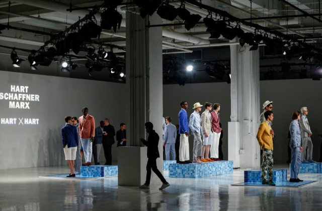 Models presenting creations by David Hart x Hart Schaffner Marx during the New York Fashion Week: Men's spring-fall 2017 show last summer. Credit Kena Betancur/Agence France-Presse — Getty Images