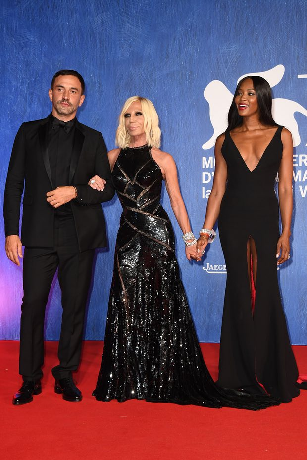 Riccardo Tisci, Donatella Versace and Naomi Campbell at the 73rd Venice film festival last September. Photograph: Venturelli/WireImage